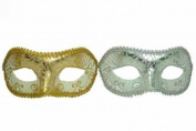 Vintage Venetian Royal Couple Design Laser Cut Material Masquerade Mask for Couples/Men/Women to Celebrate on Mardi Gras or Halloween - Sky Blue & Purple