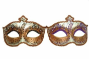 Vintage Venetian Royal Swan Couple Design Laser Cut Material Masquerade Mask for Couples/Men/Women to Celebrate on Mardi Gras or Halloween - Green & Purple