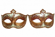 Vintage Venetian Royal Swan Couple Design Laser Cut Material Masquerade Mask for Couples/Men/Women to Celebrate on Mardi Gras or Halloween - Red & Pink