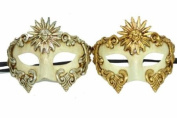 Classic Vintage Ancient Venetian Sun Crown Inspired Masks Design Laser Cut Masquerade Mask for Mardi Gras Events or Halloween - 2pc Silver & Gold