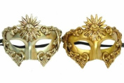 Classic Vintage Venetian Ancient Egyptian Inspired Masks Design Laser Cut Masquerade Mask for Mardi Gras Events or Halloween - 2pc Silver & Gold
