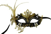 Laser Cut Venetian Masquerade Mask Costume w/ Side Lily Flower- Black