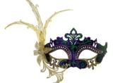 Laser Cut Venetian Masquerade Mask Costume w/ Side Lily Flower- Blue Green