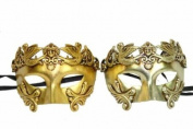 New Classic Vintage Ancient Roman Crown Inspired Masks Design Laser Cut Masquerade Mask for Mardi Gras Events or Halloween - 2pc Gold & Silver