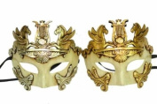 New Classic Vintage Ancient Venetian Royal Crown Inspired Masks Design Laser Cut Masquerade Mask for Mardi Gras Events or Halloween - 2pc Gold & Silver
