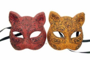 NEW Classic Vintage Venetian Feline Couples/Men/Women Design Laser Cut Masquerade Mask for Mardi Gras or Halloween - 2pc Red & Orange