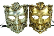 New Vintage Venetian Gladiator Full Mask Inspired Masks Design Laser Cut Masquerade Mask for Mardi Gras Events or Halloween - 2pc Gold & Silver