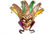 Venetian Evil Jester Inspired Classic Design Laser Cut Masquerade Mask for Mardi Gras or Halloween- Purple, Gold, And Green Colour