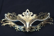 Venetian Swan Princess Crown Design Laser Cut Masquerade Mask Vibrantly Decorated and Intricately Detailed - Gold
