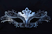 Vintage Venetian Swan Princess Inspired Design Laser Cut Masquerade Mask - Finely Decorated and Intricately Detailed - Black and Silver