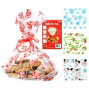 Cellophane Christmas Cookie Tray Bags 3 Count 39cm . x 48cm . with Ribbons and Tags