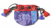 Silk Sari Extra Small Drawstring Pouch Bag in Cool Colours