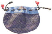 Silk Sari Small Drawstring Pouch Bag in Grey Tones