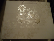 American Greetings Elegant White Floral tone on tone Congratulations Wedding Gift Bag - 13 W x 10 H x 5 D