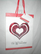 """Be My Valentine"" White & Red Heart Gift Bag 23cm X 18cm"