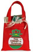 Keep Christ in Christmas Ornament Design 15cm Red Square Polyester Gift Bag Tote