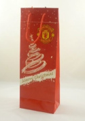 Pack of 3 - 36 x 13.5cm Manchester United Christmas Bottle Bag Gift Bag
