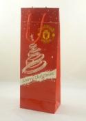 Pack of 3 - 36 x 13.5cm Manchester United Christmas Bottle Bag Gift Bag