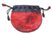 Silk Sari Medium Drawstring Pouch Bag in Warm Colours