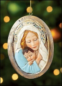 Womens Mothers Gift 7.6cm Oval Resin Blessed Madonna Embracing Jesus Christ Child Hanging Christmas Ornament