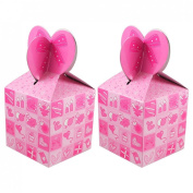 Rosallini Hearts Pattern Pink Hook Loop Fastener Paper Foldable Gift Bag 2 Pcs