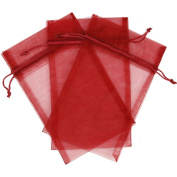 10 Designer Organza Fabric Gift Bags and Gift Pouches Party Gift Bags SET of 25cm Red Burgundy 14cm x 23cm