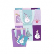 Christmas Holiday Gift Bag, Roger La Borde Snowmen Checkerboard, Small