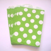 Polka Dot, Lime Green Food Treat & Favour Paper Bags, 12 Pack 5X7 - Twilight Parties