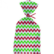 Holiday Party Goody Bags - Red & Green Design Cello Bags