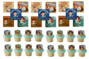 24 Jake & the Neverland Pirates Cupcake Decoration Rings with 24 Stickers