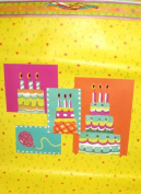 Large Happy Birthday Cakes and Balloon Yellow Giftbag