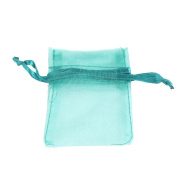 "Teal Blue 3""x 3.5"" 7x9cm Drawstring Organza Pouch Strong Wedding Favour Gift Candy Bag"