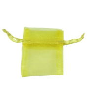 "Yellow 3""x 3.5"" 7x9cm Drawstring Organza Pouch Strong Wedding Favour Gift Candy Bag"