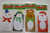 4-Pack Die-Cut Christmas Loot/Treat/Cookie Bags, Four Styles