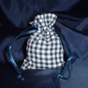 3x4 Cotton Gingham Wedding Favour Gift Bags/Pouches - Navy Blue