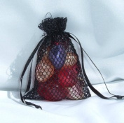 3x4 Mesh Fishnet Wedding Favour Gift Bags/Jewellery Pouches - Black