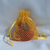3x4 Mesh Fishnet Wedding Favour Gift Bags/Jewellery Pouches - Gold
