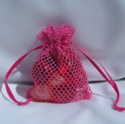 3x4 Mesh Fishnet Wedding Favour Gift Bags/Jewellery Pouches - Hot Pink