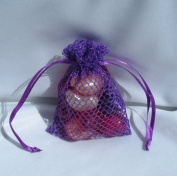 3x4 Mesh Fishnet Wedding Favour Gift Bags/Jewellery Pouches - Purple