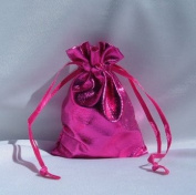 3x4 Metallic Lame Wedding Favour Gift Bags/Pouches - Hot Pink