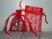 3x4 Tulle Polka Dots Wedding Favour Gift Bags/Pouches - Red