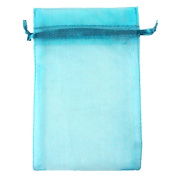 "Aqua Blue 3.5x4.7"" 9x12cm Drawstring Organza Pouch Strong Wedding Favour Gift Candy Bag"
