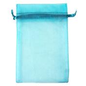 "Aqua Blue 3.5x4.7"" 9x12cm Drawstring Organza Pouch Strong Wedding Favour Gift Candy Bag"