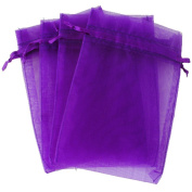 "Purple 3.5x4.7"" 9x12cm Drawstring Organza Pouch Strong Wedding Favour Gift Candy Bag"