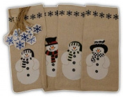 Snowman Painted Canvas Gift Bags with Ties