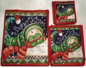 Susan Winget's Snow Kisses Snowman Canvas Gift Bag 3 Piece Set