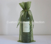 12 Moss Green Organza Bags - Bottle/Wine Bags Gift Pouch, 15cm x 36cm