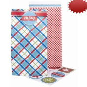 The Gift Wrap Company Sweet Sacks, 6 with Seals/6 with Retro Picnic, 12 Count