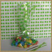 "100pcs 13cm x20cm ""Polka Dot Green"" Gift Cello Bag + Twist Ties"