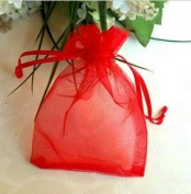 100 PCS 5''*7'' Sheer Organza Favour Bags Red
